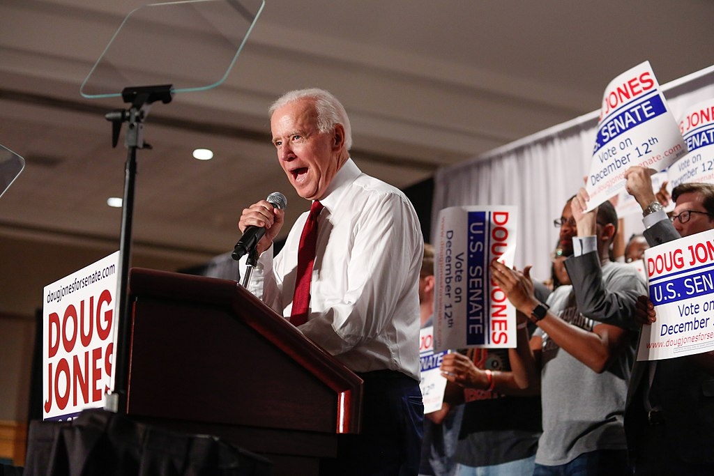 Biden campaigning for Alabama U.S. Senate candidate Doug Jones in October 2017