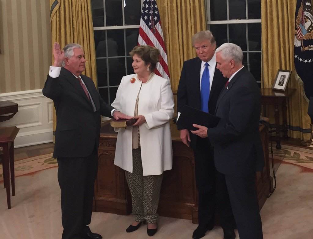 Tillerson being sworn in as Secretary of State on February