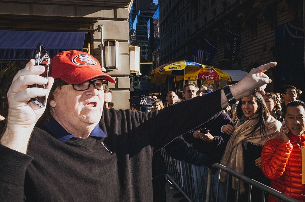 Moore at the anti-Trump rally in New York City