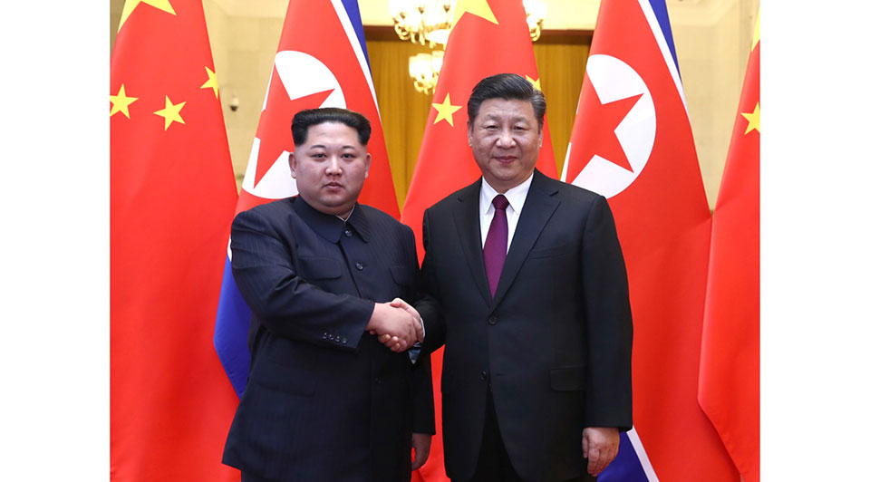 Kim meets with Chinese President Xi Jinping in Beijing on 26 March 2018