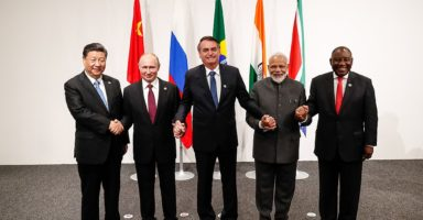 Informal meeting of the BRICS during the 2019 G20 Osaka summit From Wikimedia Commons, the free media repository